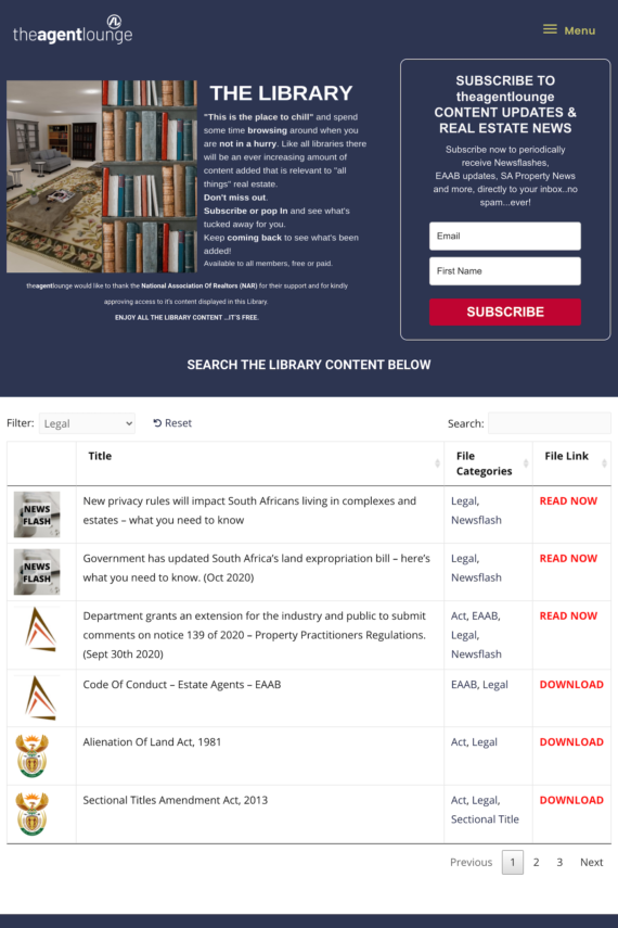 Filtered results in members-only library