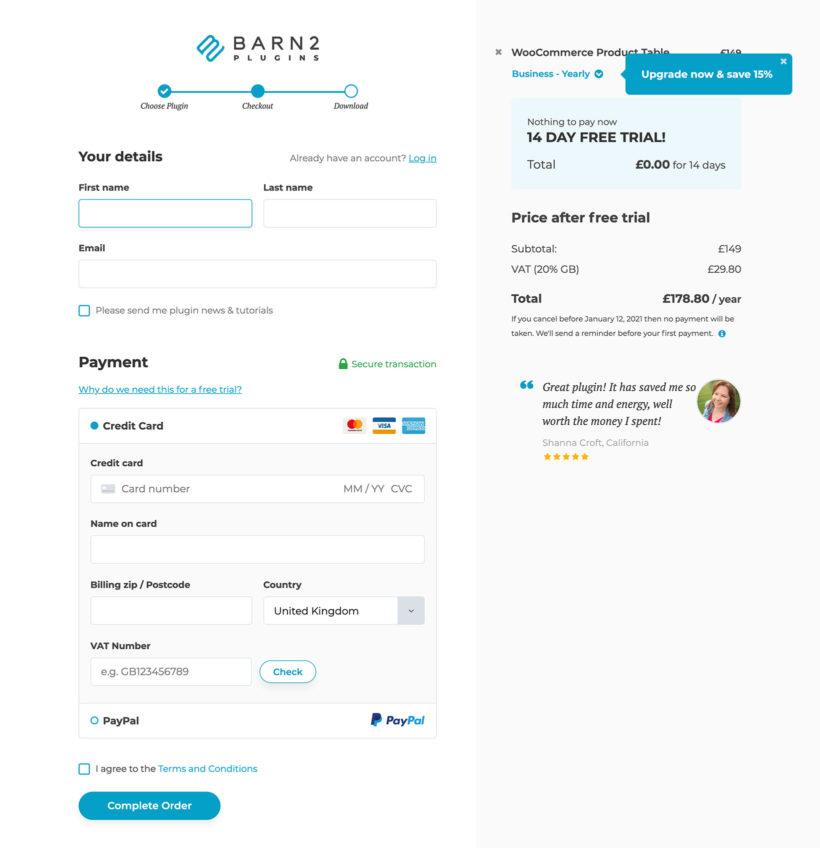 Barn2 website checkout