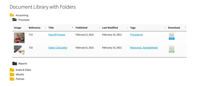 WordPress document library plugin folders