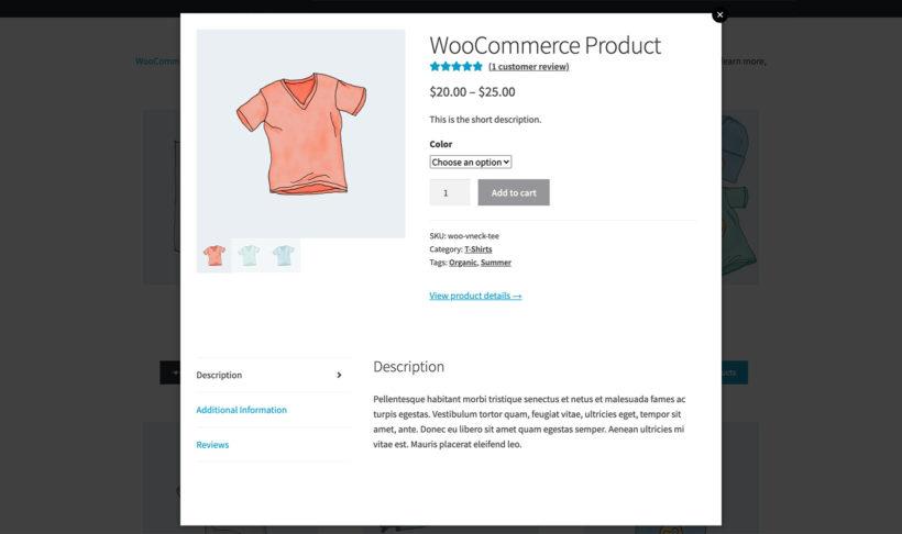 WooCommerce Quick View description reviews