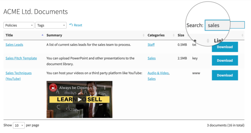 Search document library