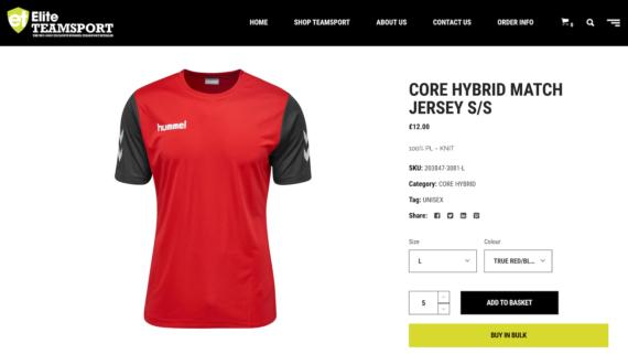Elite Teamsport product page