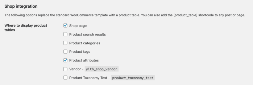 WooCommerce Product Table Shop Archive template