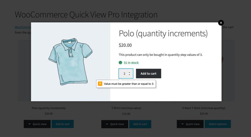 WooCommerce inline quantity error