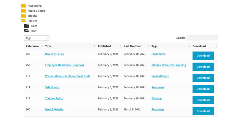 WordPress document library folders