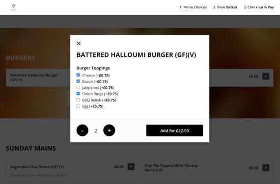 Restaurant ordering lightbox