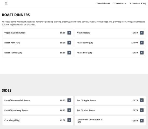 Restaurant ordering menu