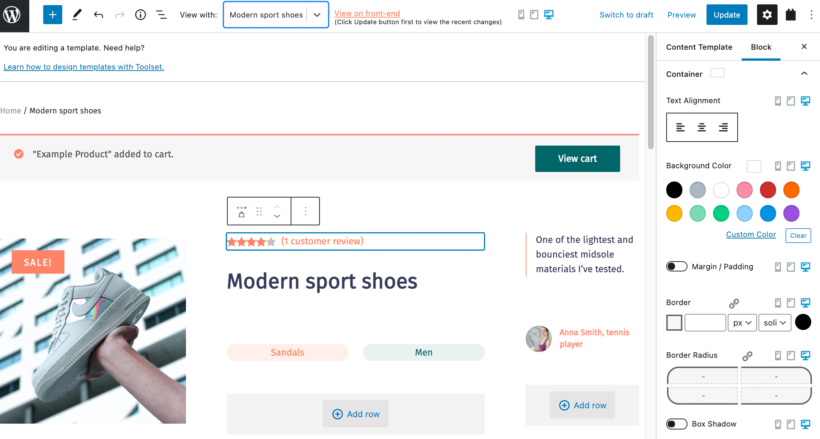 WooCommerce product page template design with blocks
