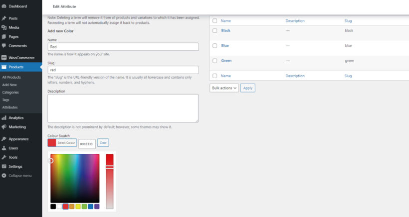 color swatch picker woocommerce