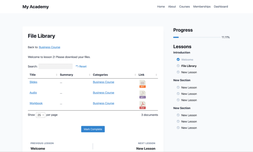 WordPress LMS course resource library