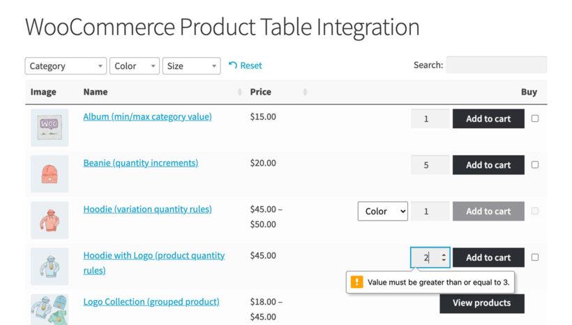WooCommerce min/max quantity product table
