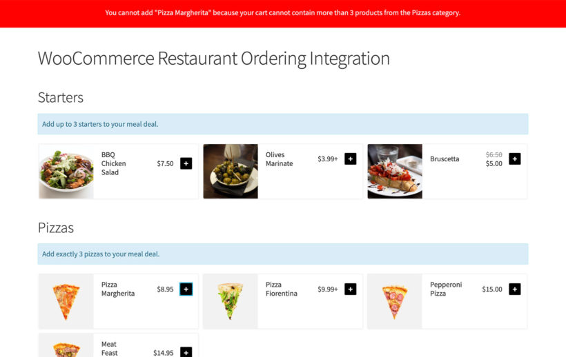 WooCommerce Quantity Manager restaurant plugin