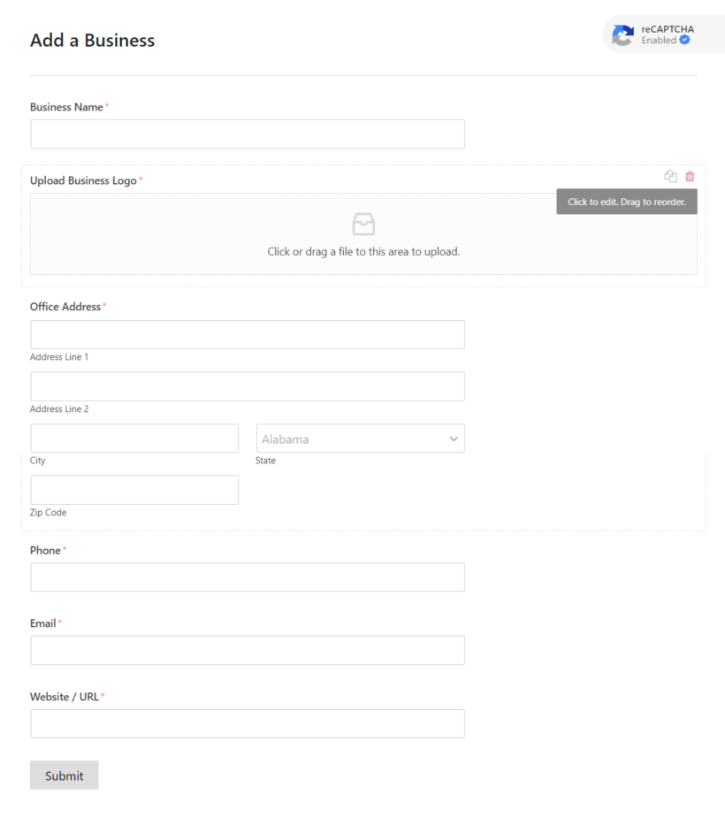 form built with wpforms - backend