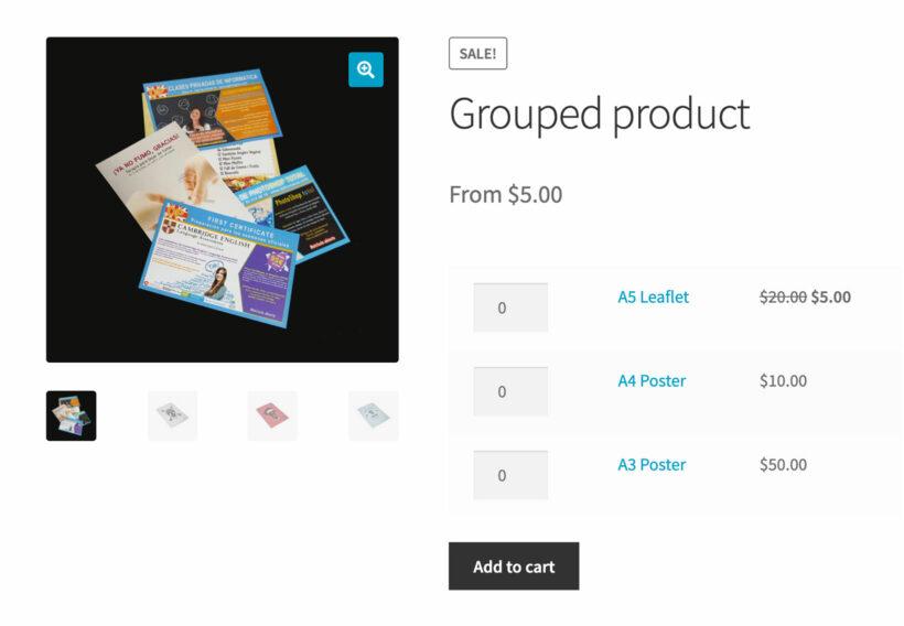 WooCommerce grouped product price range