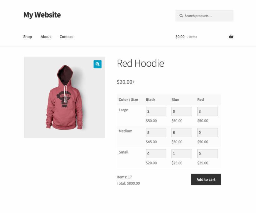 WooCommerce Variation Prices Bulk Variations