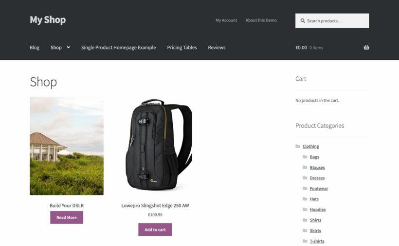 WooCommerce default shop page