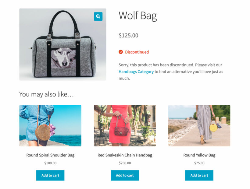 WooCommerce discontinued product with alternative suggestions