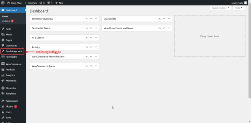 new custom post type on WordPress admin