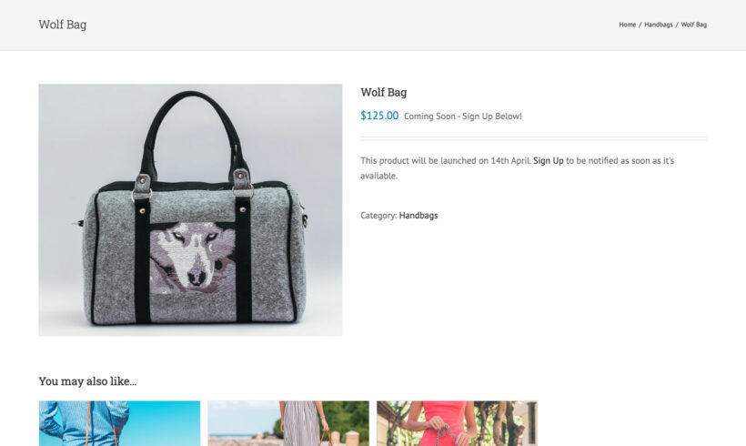 Avada theme WooCommerce coming soon product