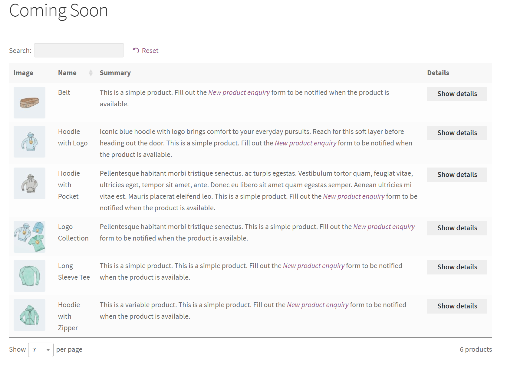 WooCommerce coming soon products listed