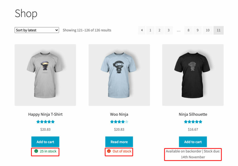 WooCommerce show stock shop categories