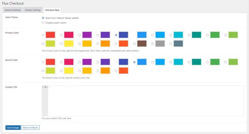 Flux checkout design settings