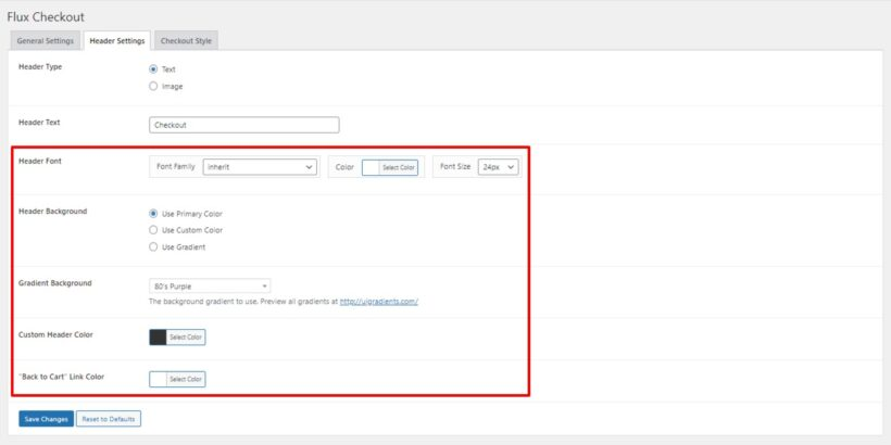 Flux checkout header settings