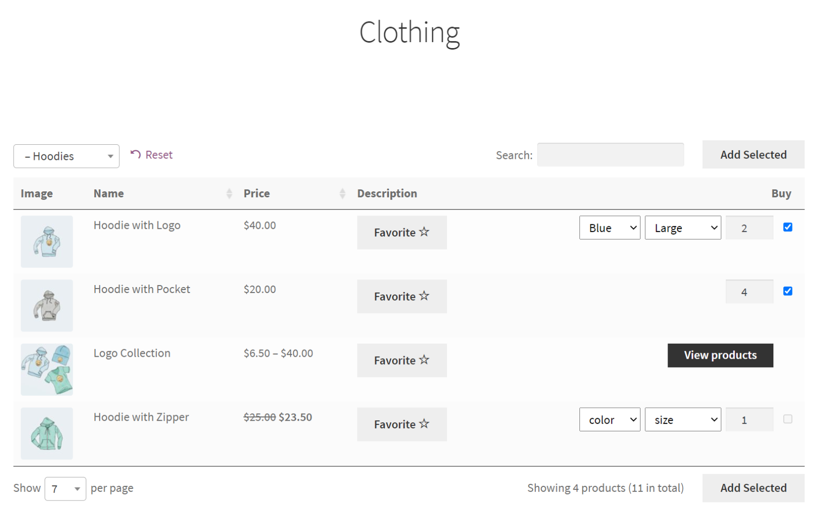 WooCommerce add to favorites button
