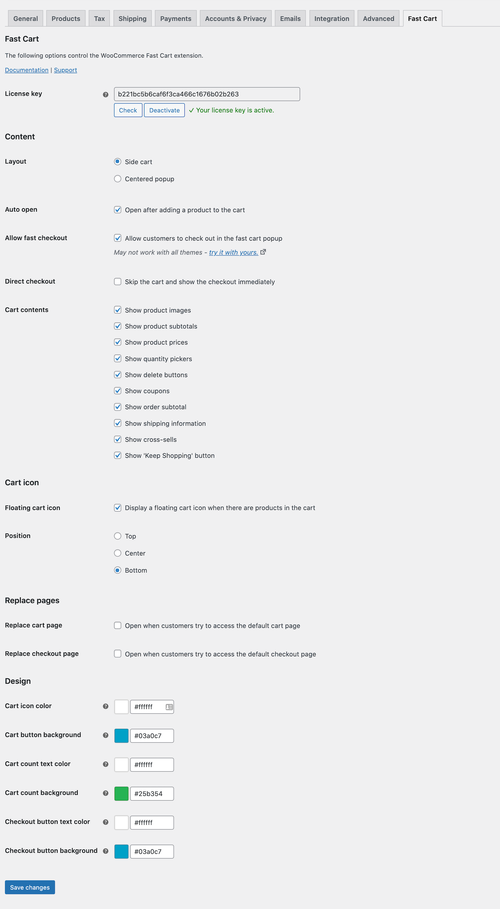 WooCommerce Fast Cart settings page