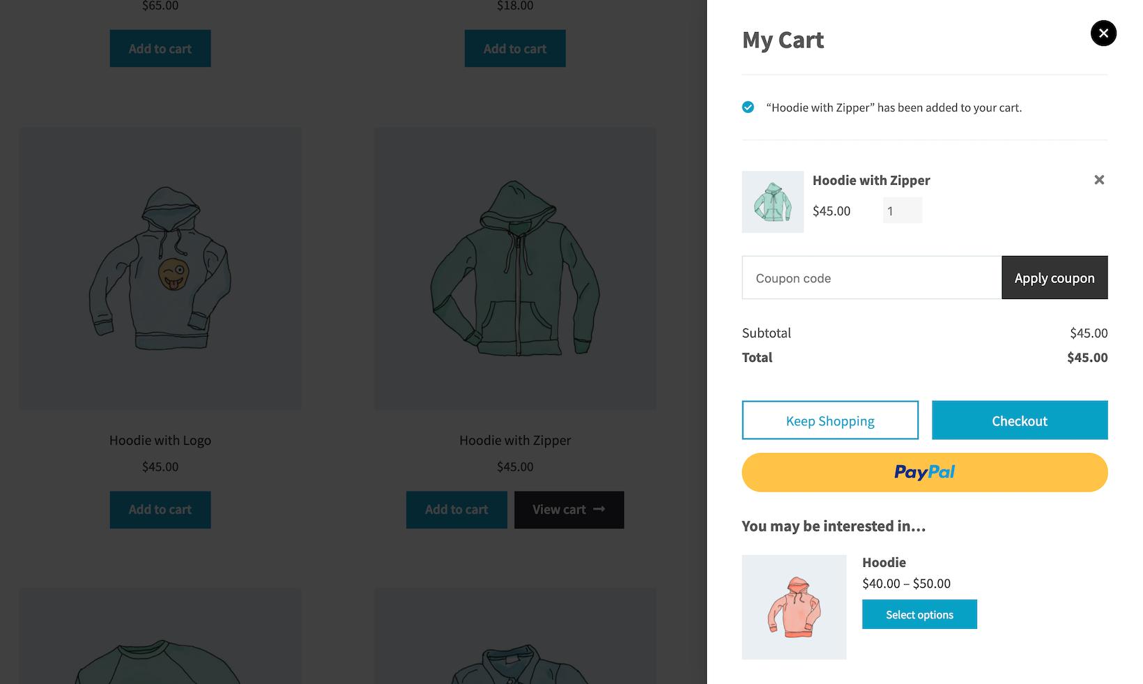 WooCommerce mini cart preview