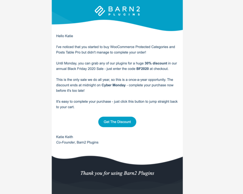 barn2 cart abandonment email