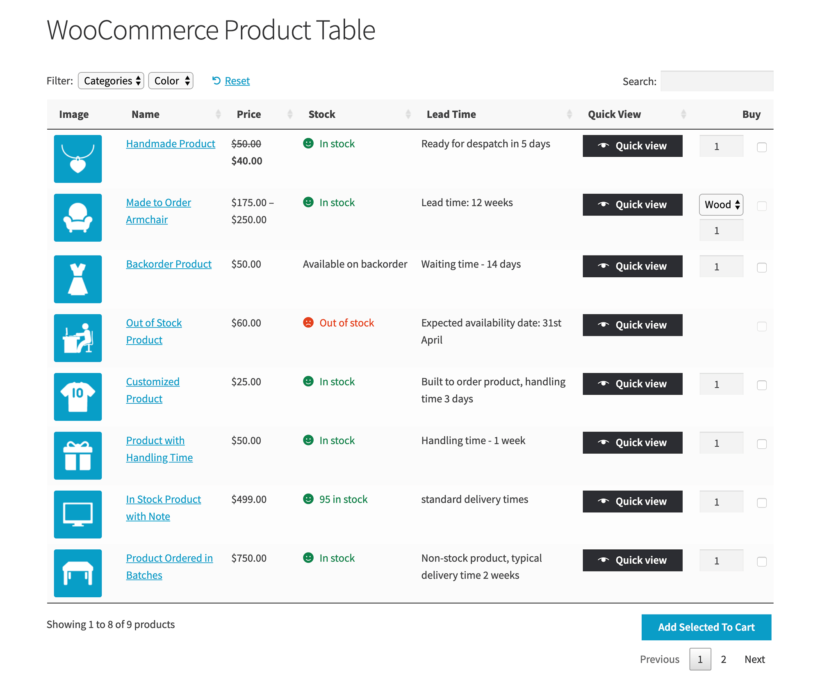 WooCommerce Lead Time Screenshot Product Table