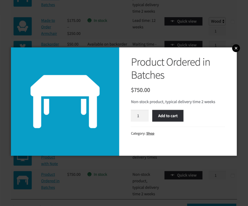 WooCommerce Lead Time screenshot with quick view plugin