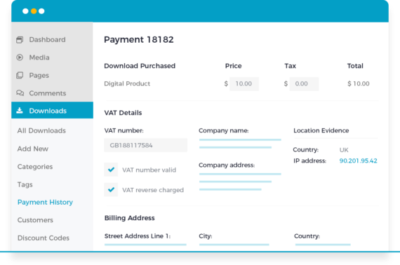 Easy Digital Downloads EU VAT plugin details
