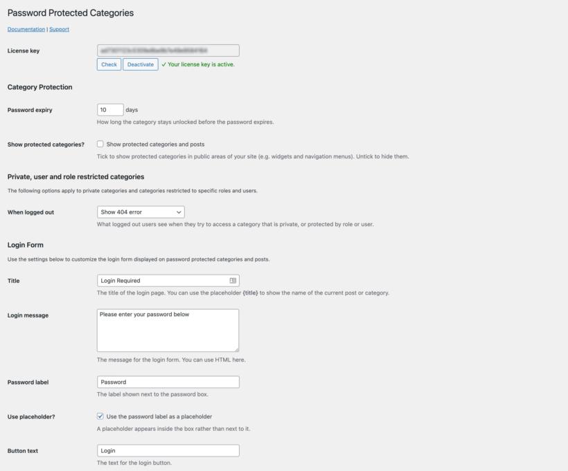 WordPress Password Protected Categories plugin settings page screenshot