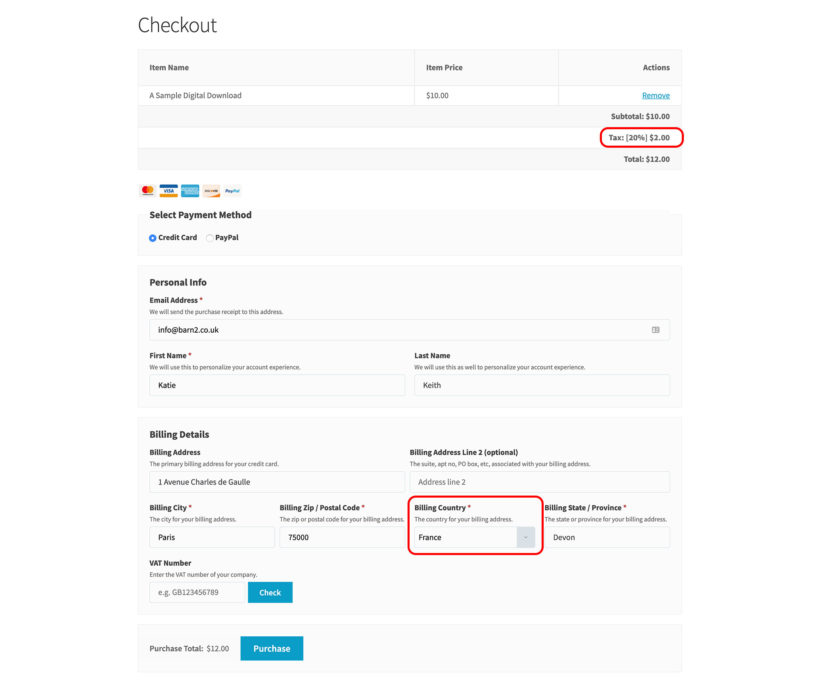 EDD EU VAT plugin screenshot add European tax at checkout