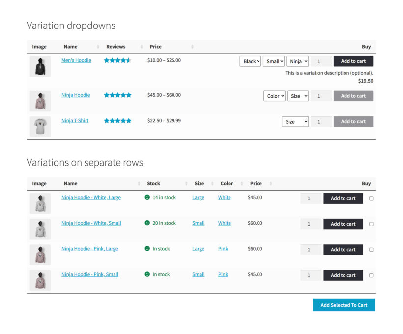 WooCommerce Product Table list variations plugin