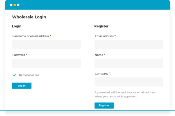 WooCommerce wholesale login form with moderation
