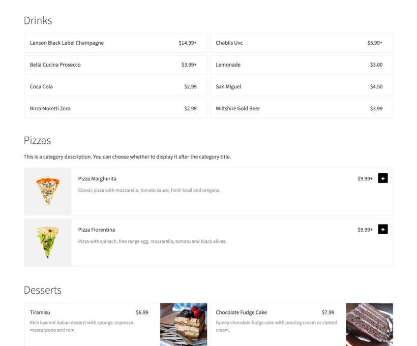 Flexible food order form WooCommerce plugin