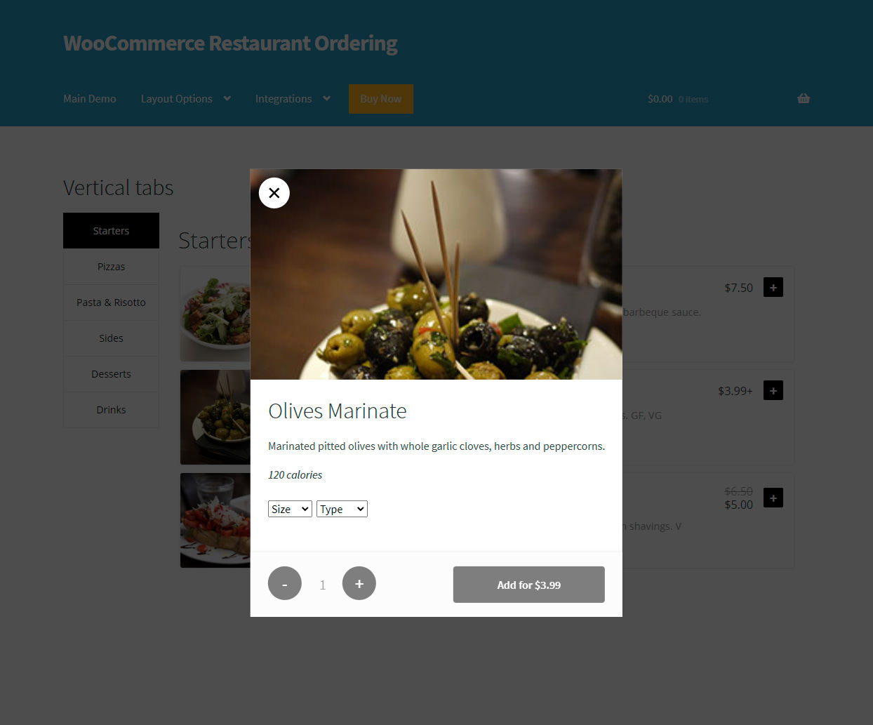 WooCommerce Restaurant Ordering Plugin - variations