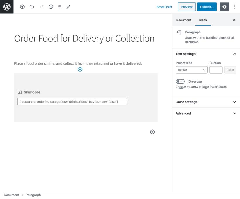 WooCommerce restaurant food ordering shortcode