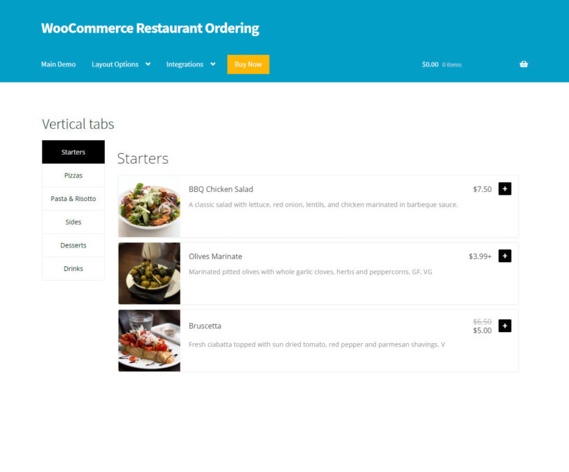 WooCommerce Restaurant Ordering tabbed layout
