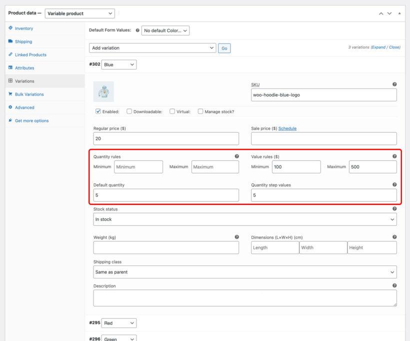 WooCommerce Quantity Manager screenshot variation rules